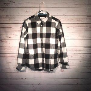 Orvis Black Plaid Snap Up Shirt Jacket Size S